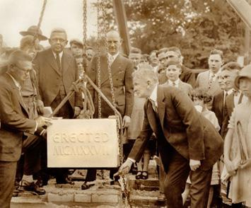 Ceremonial laying of the cornerstone, 1927